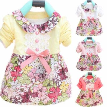 Infant Toddler Baby Floral Princess Dress Long Sleeve One Piece Tutu Dresses US