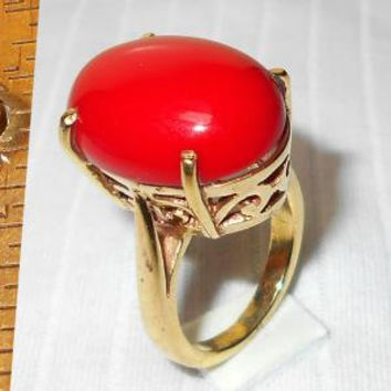 Red Coral Ring - Gold Plated Ring - Gift Wear Ring - Prong-Setting Ring - Gemstone Ring - Handmade Ring - Engagement Ring, Brass Ring