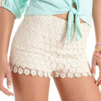 High Waisted Daisy Crochet Short: Charlotte Russe