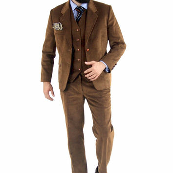 Cordifornia Handmade Slim Fit 3 Piece Suit Toffee Monkey Suits
