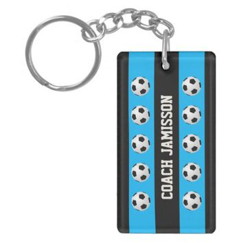 Keychain, Blue & Black, for Soccer Coach, Player Keychain