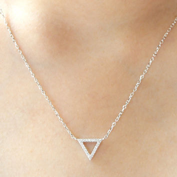 CZ Triangle Necklace, Sterling Silver Triangle Necklace, Tiny Triangle Necklace, Triangle Necklace, Geometric necklace, Wedding Jewelry