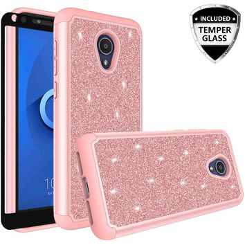 Alcatel 1x Evolve Case, 1x Evolve Glitter Bling Heavy Duty Shock Proof Hybrid Case with [HD Screen Protector] Dual Layer Protective Phone Case Cover for Alcatel 1x Evolve W/Temper Glass - Rose Gold