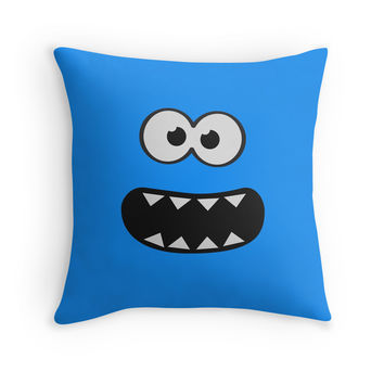 ' Funny Cookie Monster (Smiley Comic) Face (blue background))' Throw Pillow by badbugs