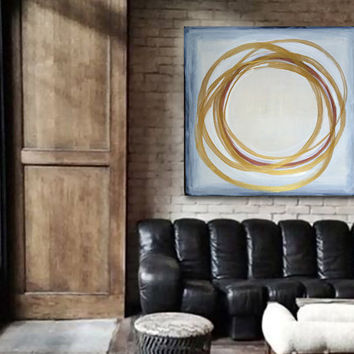 "Large 36"" x 36"" Original Abstract Painting - Contemporary Wall Art Decor - grey white beige - neutral - geometric circles rings"