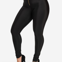 High Waisted Leggings With Zipper Front (Black)