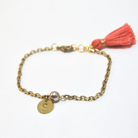 Personalized bracelet with hand stamped charm, initial bracelet with tassel, brass chain