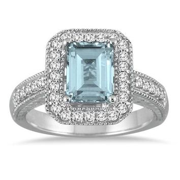 1.75 Carat Emerald Cut Aquamarine and Diamond Ring in 14k White Gold