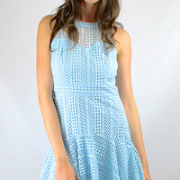 Wimbledon Ready Crochet Drop Waist Dress - Light Blue