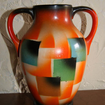Vintage 1930s Ceramic Czechoslovakian CELEBRATE Vase With Two Handles Painted Square Pattern Mold Number 2485