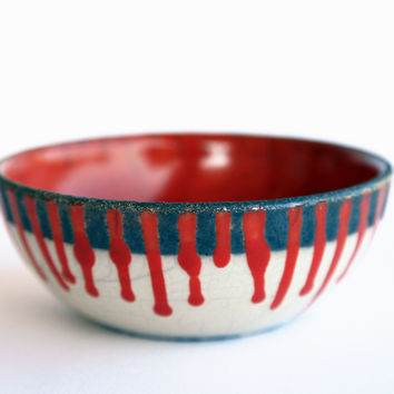 Ceramic fruit bowl, raku pottery, red white stripes, christmas
