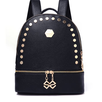 Black Zip Pocket Stud Embellished Backpack