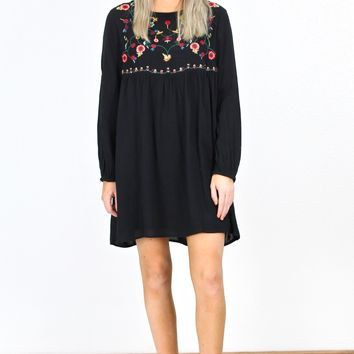 Smocked L/S Embroidered Yoke Dress {Black}
