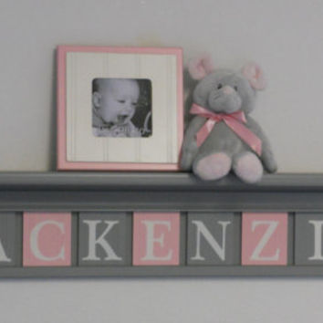 "Kids Wall Shelves, Baby Nursery Decor 36"" Grey Shelf with 9 Wooden Wall Tiles Gray and Pastel Pink - MACKENZIE"