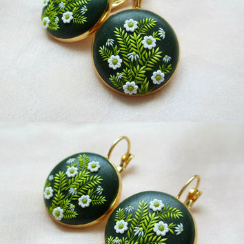 Spring Green earrings by Lena Handmade Jewelry Embroidery Applique Gift for Her Mother Daughter Jewelry May