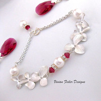 Red Wedding Jewelry Orchid Bracelet Pearl RUBY Bridal Jewelry Br - Vivian Feiler Designs | Wedding