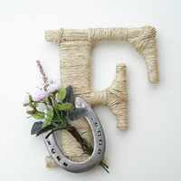 Rustic Wrapped Letter F, Rustic Letter, Country decor, Twine wrapped letter, Horseshoe decor, Rustic Home Decor, Western Letter