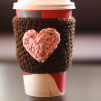 Crochet Coffee Cup Cozy / Sleeve - Dark Brown with Pink Heart (Ready to Ship)