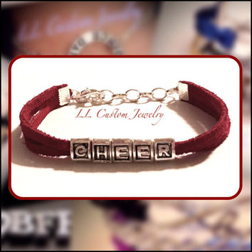 Cheer Sliding Letters on Suede Bracelet with Choice in Color of Cord