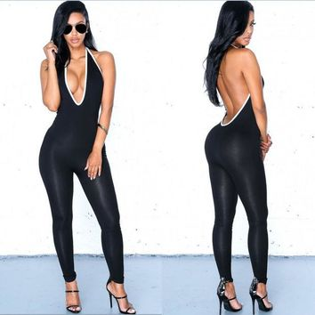 ONETOW Newest Sexy Deep V-neck Backless Summer Women Long Sports Jumpsuits Romper Cosy Women's clothing & accessories H113