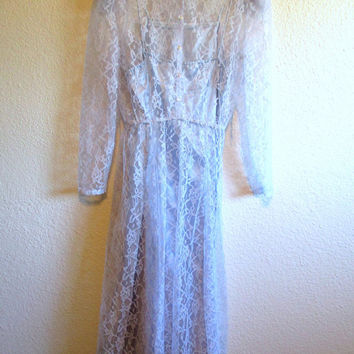 Vintage Sheer Lace Victorian Style High Neckline Collar Pale Light Blue JCPenney Size 7 8 Petite Formal Wedding Prom