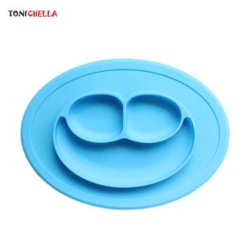 Kid Silicone Plate Antiskid Feeding Tableware Baby Food Container Infant Dinnerware Dishes Children Bowls Tray Separated T0643