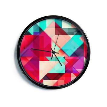 "Danny Ivan ""Still New"" Red Pink Modern Wall Clock"
