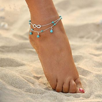 Turquoise Beads with Infinity Charm Boho Anklet