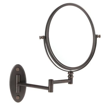Oval Elliptical 7X Magnification Wall Mounted Bathroom Folding Stretchable Rotatable Double Dual Sided Hanging Makeup Shaving Cosmetic Mirror for Family Hotel