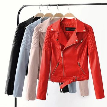 Fashion Women Elegant Zipper Faux Leather Biker Jacket Red Blue Pink Black Slim Ladies Coat Casual brand Motorcycle Leather Coat