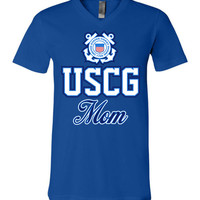 USCG Coast Guard Mom Unisex V-Neck T-Shirt