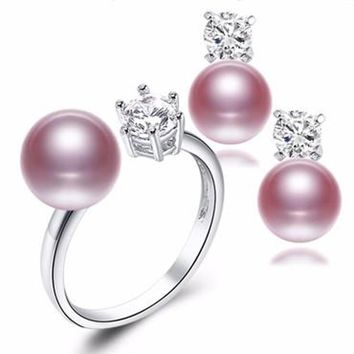 Natural Pearl Earrings and Ring Set