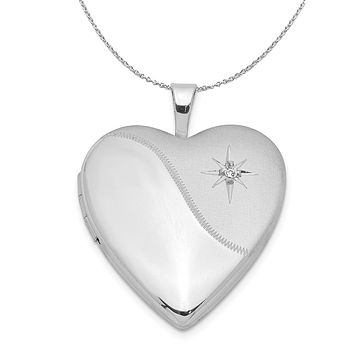 20mm Polished and Satin Diamond Heart Silver Locket Necklace