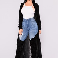 Bethany Distressed Cardigan - Black