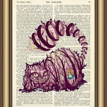 Alice in Wonderland Cheshire Cat Dictionary wall Art Poster Print pictures Canvas painting Home Decor Vintage Book page Print