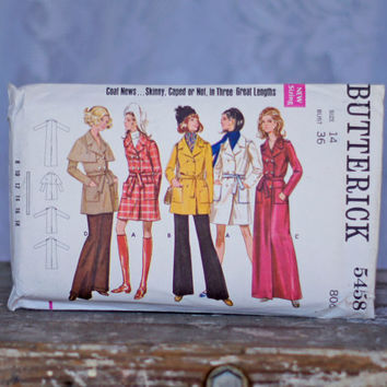 1960s Skinny Trench Coat Vintage Sewing Pattern Butterick 5458, Size 14 Medium Double-Breasted in Evening, Street or Mini Length, Epaulets