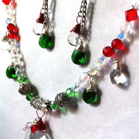 red and green christmas style crystal drop necklace Christmas necklace holiday jewelry