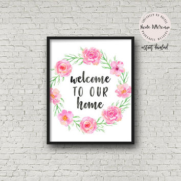 Welcome To Our Home, Family Saying, Printable Home Decor, Gallery Wall Sign, Rustic Farmhouse, Welcome Sign, Home Sign, Living Room Wall Art