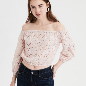 AE Off-The-Shoulder Eyelet Crop Top, Blush