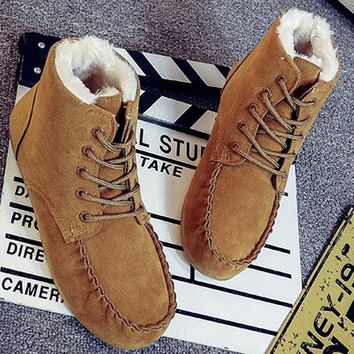 Suede Ankle Pure Color Fur Lining Lace Up Flat Boots For Women