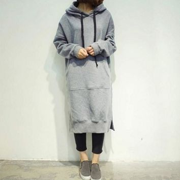 Women 2017 Spring Autumn Casual Loose Long Hoodies Sweatshirt Oversize Full Sleeve Fleece Split Hooded Dress Vestidos Plus Size
