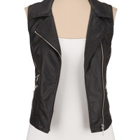 Asymmetrical Zip Faux Leather Vest - Black