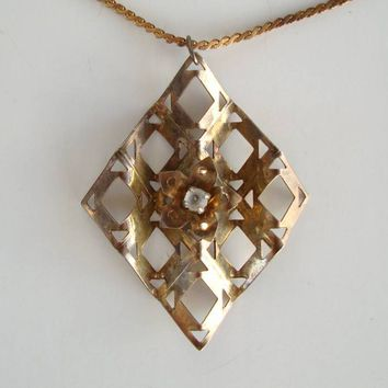 Art Deco Modernist Style Brass Pendant Necklace Rhinestones Vintage Jewelry