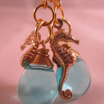 Seahorse Earrings Turquoise Glass Earrings Gold Beach Earrings Ocean Stylin' Earrings