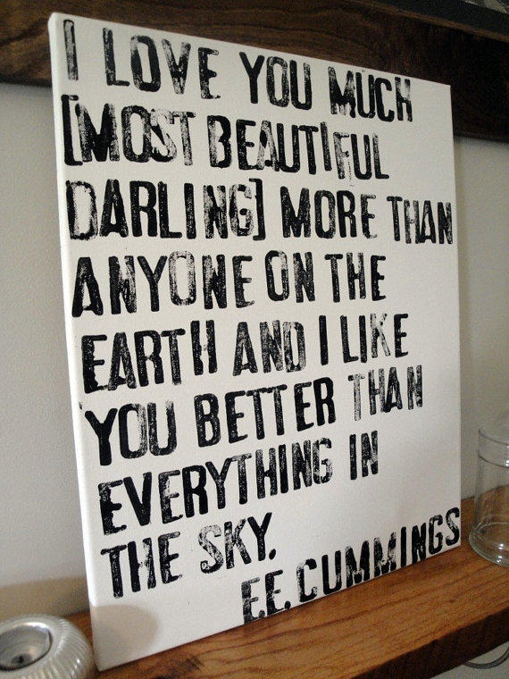 I Love You Much EE Cummings Poem on Canvas by CantonBoxCompany