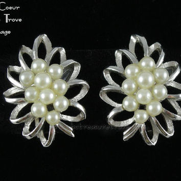Trifari Silvertone with Faux Pearl Cluster Vintage Earrings