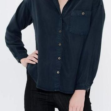 Maile Tencel Button Up in Navy
