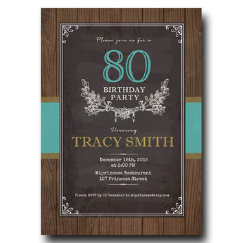 Chalkboard Wood Birthday Invitation for any age,  50 60 70 80 90 birthday invitation Retro Card Design party invite - card 137