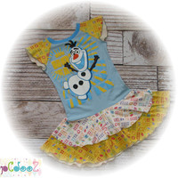 Altered, Upcycled Original New Disney frozen tee dress, size 7/8 with Olaf