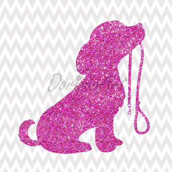 Dog printable Nursery wall art Little girl bedroom decor Gift idea Pink glitter Dog poster Puppy Grey Chevron printable Baby girl bedroom